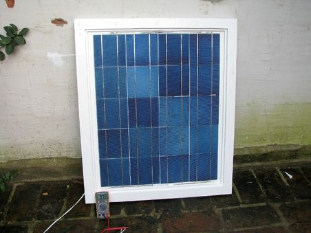 Solar panels - first panel wired up.jpg